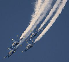 The Blues coming back in (Swaja's Aviation Art) Tags: show blue oregon portland us airport aircraft aviation military air navy jet international angels hornet hillsboro hio fa18 2015 khio