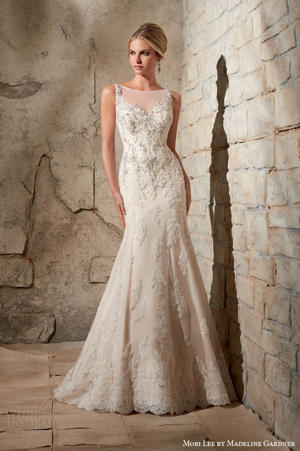 Mori lee dobinsons of darlington mori lee bridal fall 2015 sleeveless illusion neckline mermaid wedding dress style 2709 crystal bead embroidery alencon lace appliques junglespirit Image collections