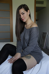 Leslie. (Nicolas Fourny photographie) Tags: portrait cute sexy beautiful canon model gorgeous sigma tattoos portraiture leslie beautifulwoman brunette 18200 hotelroom beautifulgirl girlportrait 600d womanportrait beautifulbrunette bestportraitsaoi