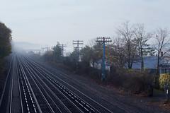 Fog on the Hudson I (johnruscombe1965) Tags: railroad autumn mist ny newyork fall weather fog unitedstatesofamerica railway hudsonriver converginglines hudsonline