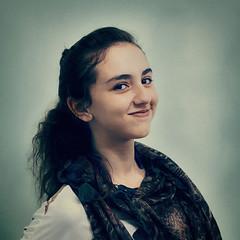 Aliaa (seleemdarwish) Tags: portrait people art girl smile face fashion scarf studio square 50mm model nikon artistic fineart young style indoor fresh arabic teen arab squareformat egyptian arabian