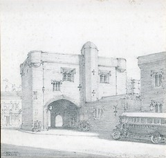 Drawing of the Magazine by Walter Brand, c 1920 (demontfortuniversity) Tags: 1920s buses architecture pencil drawing leicester
