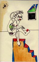 Mujer sobre escalera (Rodrigo_d._Toledo) Tags: color mujer arte sexo acuarela abstracto scketch pintura cuerpo boceto humana figura femenina surrealista rganos expresionista corporalidad genitales