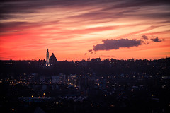 Joyeuses ftes ! - A Thin Line Between Darkness And Light (Gilderic Photography) Tags: city sunset sky cloud canon lights cityscape belgium belgique belgie liege 500d gilderic