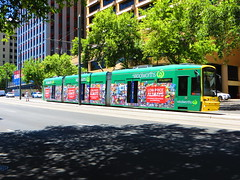 Tram 101 on North Tce (RS 1990) Tags: advertising december tram 101 adelaide thursday southaustralia 24th woolworths supermarkets 2015 northtce flexity