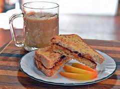 It's What's For Breakfast! (October Is My Month!) Tags: bread milk toast peanutbutter slices sugarfree strawberryjam udi glutenfreebread jazzapple bluetribecoffee omegaflaxfiber