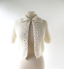 1950s white chunky knit cardigan with rhinestones and lace trim (Small Earth Vintage) Tags: smallearthvintage vintagefashion vintageclothing cardigan sweater 1950s 50s white chunkyknit lace rhinestones debutantebywooltex