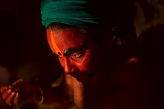 Therukkoothu near Cheiyar (Akilan T) Tags: sigmasigmaart canoncanon5dmk3 people hindu traditional culture rural folkart india tamilnadu chennai cheiyar color face makeup artist art therukoothu
