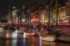 Watercolor (karinavera) Tags: travel nikond5300 copenhagen night urban port colors water nyhavn boat transport denmark longexposure cityscape city colorful