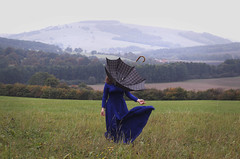 The Protector (misa.stahlova) Tags: conceptual surreal imaginative 365 365project brookeshadeninspired inspired bluedress meadow wind cold umbrella symbolism mountains blue people selfportrait portrait portraiture female outdoor canon 50mm manipulation photoshop