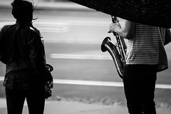 shadowplay (heavysoulclick) Tags: blackandwhite blanconoir streetphotography street cinematic 500mm nikkor nikoneos canon5d saxophone shadows wind shadowplay joy divison