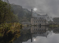 19th century Gibson Mill (johnhontai) Tags: oldmill reflections pond yorkshire hardcastlecrags hardcastle gibsonmill autumn wideanglelens d750 nikon kempophotography