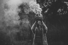 Nightmares (Delissa McWilliams Photography) Tags: blackwhite blackwhitephotos forest portrait delissamcwilliamsphotography 2016 pumpkin smoke halloween scary horror theme nightmares adventure quest autumn trees fall
