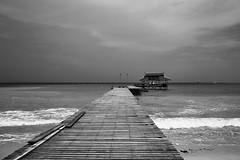 Pulau Tiga, Borneo, Malaysia (bm^) Tags: travel pulautiga sabah maleisië nature natuur malaysia my distagont228 distagon282zf nikon d700 bw blackandwhite black white blackwhitephotos zf2 zeiss carl nikond700 zwart wit zwartwit reis borneo carlzeiss maleisia pulau tiga zee ocean see oceaan southchinesesea pier