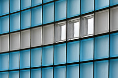 Wall of glass (Jan van der Wolf) Tags: map113412v wall muur pattern patroon abstract lijnen lijnenspel interplayoflines playoflines blue glass glas