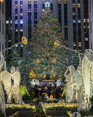 Channel Gardens at The Rockefeller Center, New York City (jag9889) Tags: 20161201 jag9889 usa icerink manhattan rockefellercenter newyork outdoor 2016 star holiday sculpture christmas iceskating statue midtown nightphotography newyorkcity decoration tree prometheus display ornaments christmastree angel bronze greek legend longexposure ny nyc night nightscene skulptur unitedstates unitedstatesofamerica us