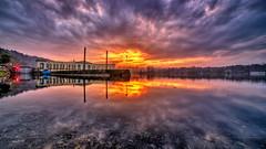 A ... Somma Lombardo. (dolomitico) Tags: 21100varese sommalombardo ticino sunset tramonto water acqua diga