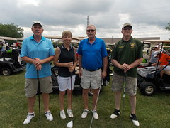 Winning 2015 Golf Team - from left, Steve Keever, Becca Keever, sda and Mike Tomes