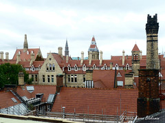 Challenge Friday, theme through the window - view from the training room (karenblakeman) Tags: uk skyline manchester rooftops september chimneys throughthewindow universityofmanchester 2015 cf15 challengefriday