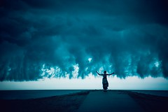 storm daughter (Jen MacNeill) Tags: storm beach nature girl scary skies child daughter dramatic stormy drama assateague