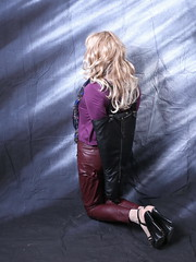 Leather Tgirl in Armbinder (sabrinamueller789) Tags: leather bondage tgirl tranny crossdresser armbinder femalemask monoglove