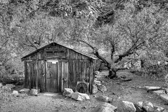 Miner's Cabin (Doug Santo) Tags: blackandwhite cabin mining panamintvalley deathvalleynationalpark landscapephotography golerwash minerscabin panamintrange