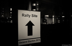 Rally site direction (gunman47) Tags: b party bw white black monochrome sepia poster mono site election singapore general w politics rally solidarity national candidate sg ge campaign tampines nsp campaigning 2015