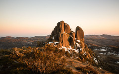 The Cathedral at Sunrise (laurie.g.w) Tags: park light snow rock sunrise landscape high buffalo warm mt cathedral bright plateau country peak australia victoria national patch rugged the