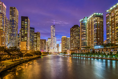 Chicago River view. (pedro lastra) Tags: city architecture skyline water night outdoor building trump tower nikon d750 nikond750