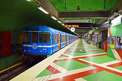 Kungstrdgrden metro station (gokdeniztm) Tags: red urban green art station architecture train canon underground subway design nikon colorful traffic metro sweden stockholm tube trainstation transportation ubahn scandinavia hdr tbana kungstrdgrden photomatix d3300 snapseed