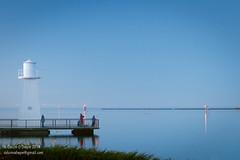 Fishing, Devonport. (Colum O'Dwyer) Tags: lighthouse night river fishing dusk australia bluesky calm negativespace tasmania devonport colum merseyriver colcum columodwyer