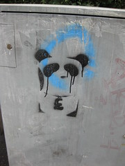Monetised (Niecieden) Tags: blue streetart black graffiti stencil panda leicester july 2010  canondigtialixus90is