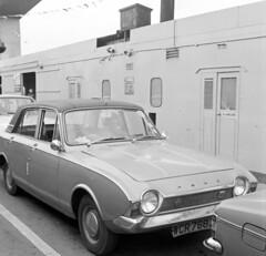 Last Day of Woolston Floating Bridge, 11 June 1977 (Ian D Nolan) Tags: film car corsair southampton v4 floatingbridge itchenbridge agfaisoletteiii vord woolstonferry epsonperfectionv750scanner