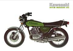 1974 KAWASAKI  H1E Mach III 500 (Rickster G) Tags: two classic vintage ads flyer stroke literature 400 70s kh 500 h1 h2 sales brochure triple spec 250 kawasaki dealer 750 stroker twinshock vjm
