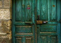 What Lies Behind (Ali Sabbagh) Tags: wood old canon doors close turquoise details ock eos7d