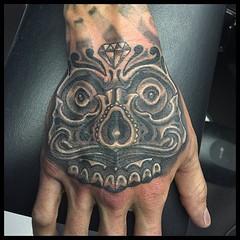 Skull hand #skullmoustache #pooch #alteredstatetattoo @eikondevice #symbeosrotary