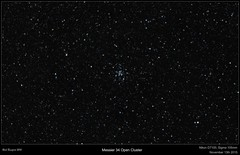 Messier 34 Open Cluster Wide Field (cropped) (Myrialejean) Tags: sky night stars cluster astrophotography astronomy dslr opencluster messier sigma105mm d7100 astrometrydotnet:status=solved messier34 astrometrydotnet:id=nova1343618
