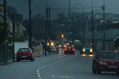 Dusky Old Town (Michael C. Hall) Tags: street storm wet car weather clouds lights traffic windy suburbs van stormclouds raincloud