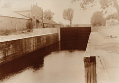 Canal, Portage Locks, Curling Club on Left