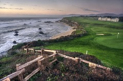 Chilling at Half Moon Bay (PeterThoeny) Tags: halfmoonbay california theritzcarlton ritzcarlton golf golfcourse golfclub fence grass green cloudy clouds day dusk nex6 selp1650 1xp raw hdr photomatix outdoor sky cloud water waves sunset shoreline park qualityhdr qualityhdrphotography serene waterfront landscape sea shore coast pacific pacificcoast fav200