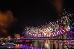 And so it begins. (merbert2012) Tags: brisbane riverfire fireworks longexposure reflection clouds cityscape city river people fun nikond800 storybridge riverfire2016