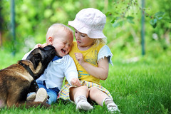 children and dog (DuChezMalinois) Tags: dogs babies animals child pets cute friendship childhood family outdoors beauty people beautiful love little cheerful girls culture playful fun human happiness young canine belgian toddler green puppy portrait malinois boys horizontal innocence one purebred protection grass playing joy son sitting nature park person small daughter domestic mammal face spring lithuania
