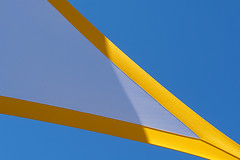 Yellow net and blue sky (on Explore) (Jan van der Wolf) Tags: map158394v yellow geel blue doek net shadow shadowplay blauw sky abstract lines lijnen