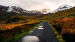 Road to Mount Snowdon, Snowdonia (throzen) Tags: uk united kingdom landscape nature outside outdoor outdoors europe sky snowdon snowdonia wales north west snow mountain mountains mountainside path puddles water rain winter