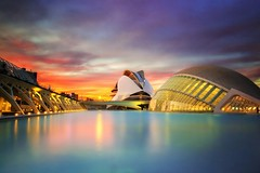 Valencia (Anto Camacho) Tags: valencia longexposure valenciancommunnity calatrava cac cityscape sunset colours buildings landscape reflections largaexposicin bigstopper