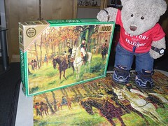Me an' Napoleon (pefkosmad) Tags: jigsaw puzzle hobby leisure pastime falcon 1000pieces complete napoleon generaldavout painting art raymonddesvarreux napoleonbonaparte louisnicolasdavout mounted horses woodland forest trees tedricstudmuffin ted teddy bear cute soft stuffed toy fluffy plush
