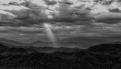 In the spotlight (Irina1010) Tags: sky clouds lightbeams panorama perspective mountains smokeymountains foothillsparkway bw monochrome landscape nature canon outstandingromanianphotographers