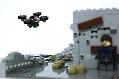 Quadcopter Drone on patrol (Devid VII) Tags: drones devid vii mecha mech drone lego moc military war troopers crew wars trooper detail details mini rebel district soldier diorama street minifig minifigs
