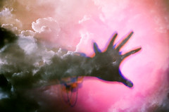 Higher Hands (Hayden_Williams) Tags: hand arm fingers god heaven deity reach sky clouds cloud cloudscape shadow silhouette abstract surreal dream dreamy purple pink sunset film analog analogue vintage hipster indie retro canonae1 fd50mmf18 lomography lomo lomochrometurquoisexr100400 doubleexposure multipleexposure
