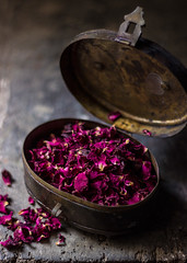 Edible dry rose petals... (Chandrima Sarkar) Tags: stilllife foodphotography foodstyling ingredient pink vintage box rose
